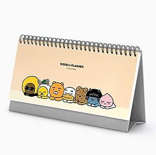 Kakao Friends Study Planner Daily to do List Desk Planner, Check List, Spiral Standing Weekly Planner Scheduler Organizer Undated Desk Calendars - Kakao friends - Beige)