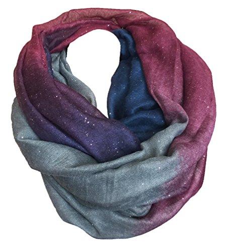 FASHION LOOP Design Farbverlauf Schal Schlauchschal Rundschal Style Glitzer (Violett Blau)