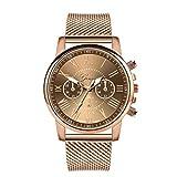 Reloj de lujo de oro rosa reloj de las mujeres relojes de pulsera de la marca superior señoras casual reloj de cuarzo de acero de las mujeres reloj de pulsera Montre Femme Relogio, café, talla única,