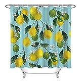 taquxinlaowan Aquarell trägt Zitronen-Grün-Blatt-Blumen-Duschvorhang-wasserdichtes Gewebe Früchte