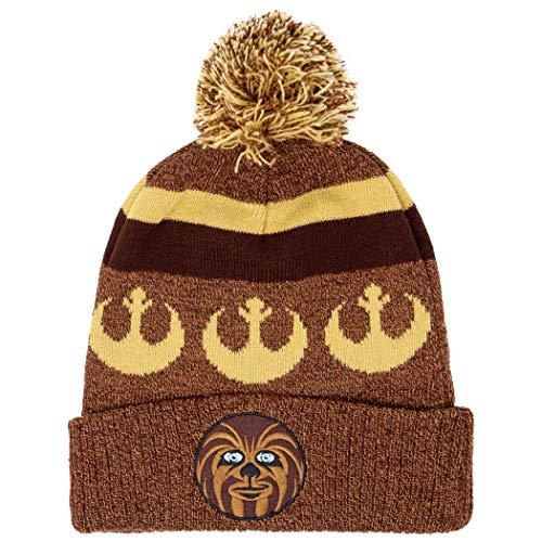 Chewbacca Star Wars Intarsia Cuff Pom Beanie Winter Hat Brown