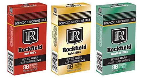 "Tobacco Free Cigarette ALTERNATIVES - ROCKFIELD ""Menthol 100'S"" - Tobacco Free - Nicotine Free - NITROSAMINE Free - Herbal Cigarette ALTERNATIVES"