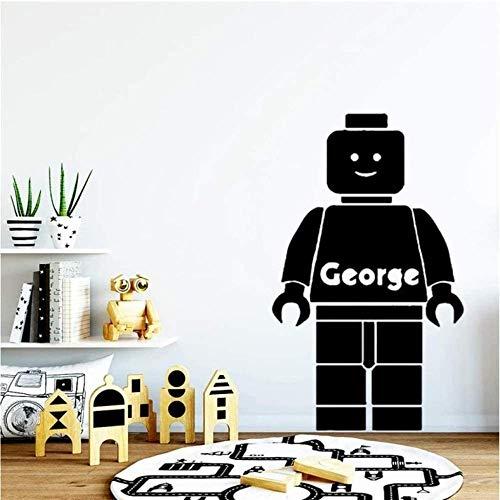 Calcomanía de vinilo para pared decoración de la pared exquisito nombre personalizado de Lego 71x43 cm decoración decoración de la habitación de los niños