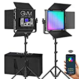 GVM 50RS RGB LED Video Light, 50W Video Lighting Kit with APP Control, 360°Full Color Led Panel Light for Gaming, Streaming, Youtube, Webex, Broadcasting, Web Conference, Aluminum Alloy Shell, CRI 97