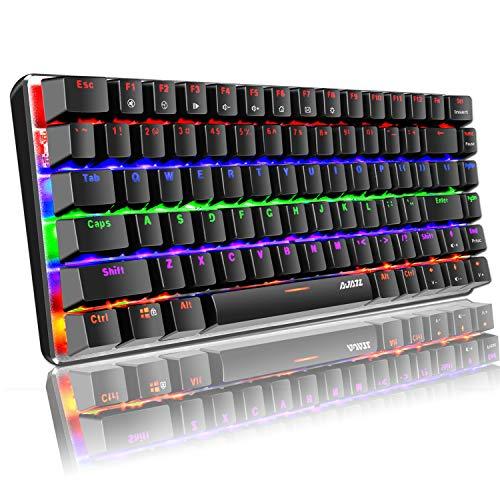 Mechanische Tastatur, AK33 Rainbow LED-USB-Kabel mit Hintergrundbeleuchtung Mechanische Gaming-Tastatur mit 82 Tasten Kompakte Gaming-Tastatur mit Anti-Ghosting-Tasten (Blauer Schalter, Schwarz)