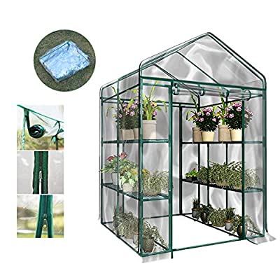 Portable Plant Gardening Walk-in Greenhouse,PVC Corrosion-Resistant Waterproof Greenhouse Plant Cover Garden House Green Plant Insulation with Front Roll-Up Doors (Without Iron Stand)