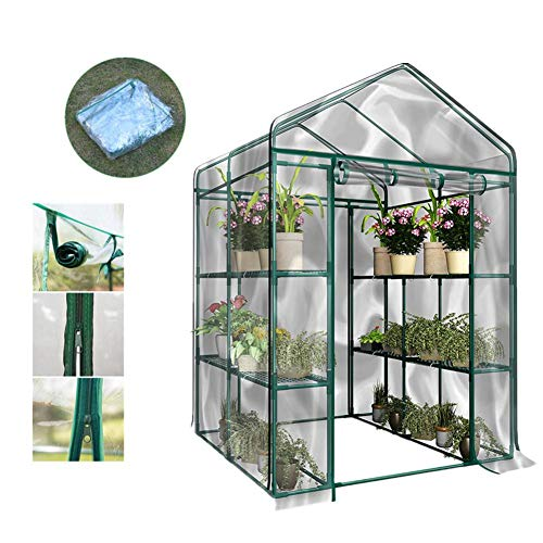 Cracklight Portable Plant Gardening Walk-in Greenhouse,PVC Corrosion-Resistant Waterproof Greenhouse Plant Cover Garden House Green Plant Insulation with Front Roll-Up Doors (Without Iron Stand)
