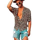 Camisas de Manga Corta para Hombres Camisa Casual con Estampado de Leopardo Solapa de Verano Tops Sueltos Botones Ropa de Ocio de Playa