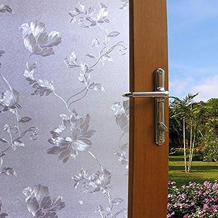 Lukzer 1 PC Flower Design Window Frosted Privacy Glass Film Decorative Sticker for Home Bathroom Office 45 cm x 200 cm, Plastic, white