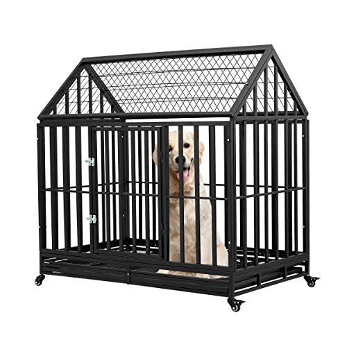 Esright Heavy Duty Dog Crate Strong Metal Kennel, 36 inches for Large Dogs, 4 Wheels Pet Playpen...