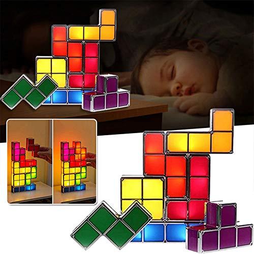 Lámpara de mesa apilable Tetris, lámpara LED Tangram Puzzles, lámpara de escritorio de enclavamiento por inducción 3D, lámpara de juguete divertida para niños y decoración, STEAM Teach aid