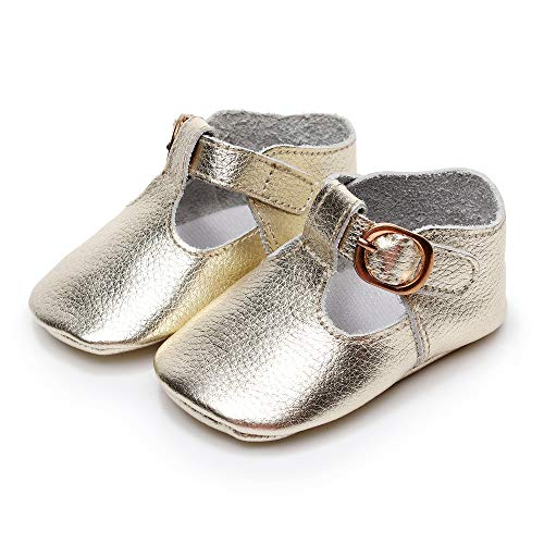 Bebila T-Strap Infant Moccasins for Girls Buckle Soft Baby Boy Shoes Genuine Leather Mary Janes Golden(5M/12CM/4.72',6-12M,Gold)