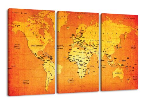 160 x 90 cm cuadro en lienzo mapamundi 1165-VKF –Cuadro impresión, Cuadro decoración
