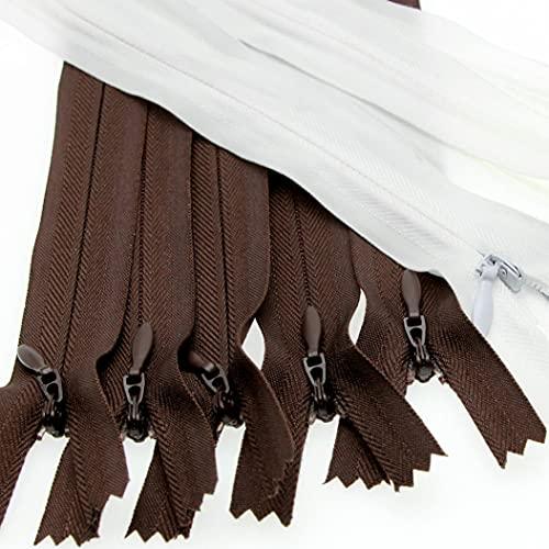 3# Cremalleras invisibles de 60 cm marrón y blanco,Cremallera manual hecha a mano de bricolaje para coser bolsos de vestir manualidades colchón almohada sábana sofá Leekayer