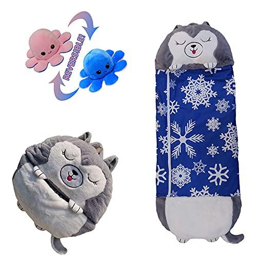 Großer glücklicher Kinderschlafsack,super weich,warm und lustig Kissen Schlafsack zwei in einem Cartoon Tier Schlafsack Kissen,geeignet für Kinder im Alter von 3-12 Jahren(Husky,64.96×27.55 Zoll)