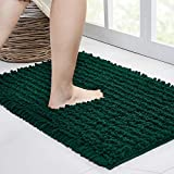 Walensee Bathroom Rug Non Slip Bath Mat (24x17 Inch Hunter Green) Water Absorbent Super Soft Shaggy Chenille Machine Washable Dry Extra Thick Perfect Absorbant Best Small Plush Carpet For Shower Floor