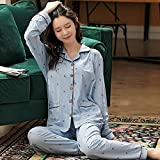 Primavera otoño Pijama de algodón Estampado para Mujer de Talla Grande 6XL 7XL de Dos Piezas Breve Ropa de casa de Manga Larga Ropa de Dormir Femenina-XL_55-67.5KG