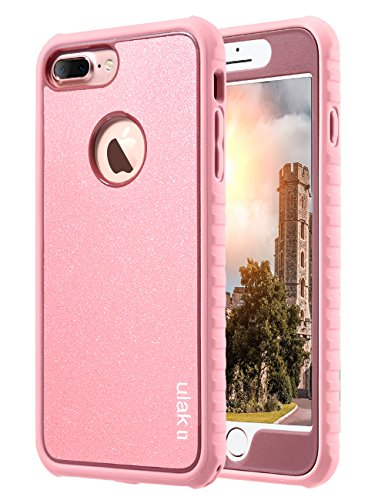 ULAK iPhone 7 Plus Case, Slim Hard PC Back Cover with Shock Absorption TPU Bumper Front and Back Protection, Durable Anti-Slip Protective Phone Case for iPhone 7 Plus 5.5 inch, Rose Gold Bling