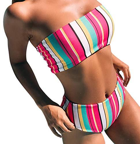 Bikini Talle Alto Bandeau Sin Tirantes Mujer Rayas Trajes de Baño Flores de Dos Piezas Biquini Braga Alta Bañador Piscina Playa Mujeres Conjunto de Bikinis Cintura Alta Señora Natacion Arco Iris S