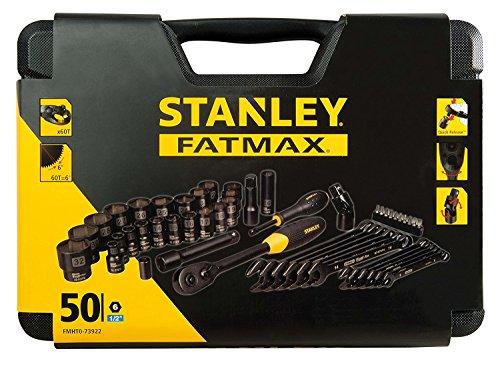 Stanley Fmht0-73922 Coffret à Douilles Gamme Fatmax - Angle De Reprise 5° - 72Dents - 6 Pans Acier Chromé - Anticorrosion - Pognée Bi Matière - 50 Pièces