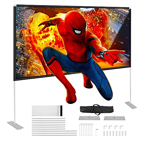 Powerextra Projector Screen with Stand, 100 inch 16:9 HD 4K Rear Front Foldable Portable Projection Screen with Carry Bag for...