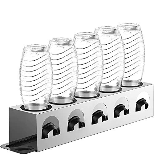 ecooe Abtropfständer mit Abtropfwanne und Kantenschutzringe Flaschenhalter für SodaStream Crystal Glaskaraffe Fuse PET-Flasche Abtropfhalter Edelstahl für 5 Flaschen und 5 Deckel Nicht für Duo
