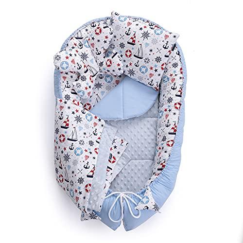 MayaMila - Juego de cuna para bebé (7 piezas, incluye cuna de 95 x 60 cm, cojín extraíble, cojín plano, manta para gatear, cojín de mariposa, 100% algodón, color azul claro