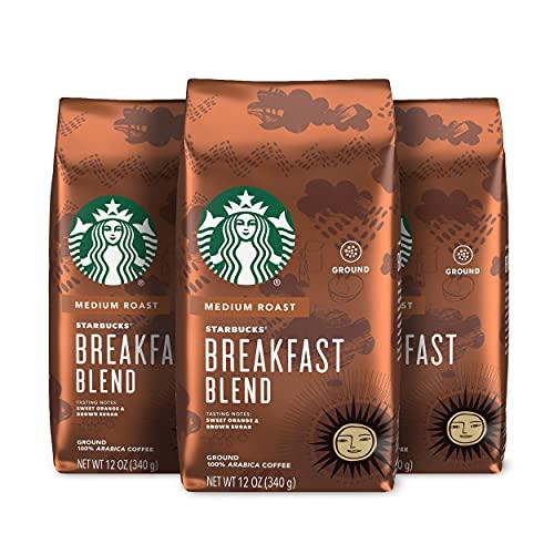 Starbucks Medium Roast Ground Coffee, Breakfast Blend, 100% Arabica, Orange and Sugar, 3 Count, 36 Oz