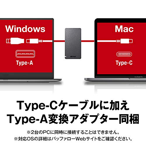 BUFFALOUSB3.2Gen2ポータブルSSD1.9TB名刺サイズ読込速度530MB/s日本製PS5/PS4(メーカー動作確認済)耐衝撃・コネクター保護機構ブラックSSD-PGM1.9U3-B/N