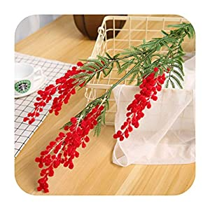 Hopereo 88Cm Big Fake Acacia Artificial Flowers Yellow Mimosa Spray Cherry Fruit Branch Wedding Home Table Decoration Fake Flower-Red