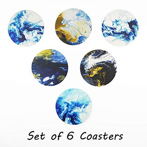 Acme Designs - Juego de 6 posavasos redondos de cerámica con base de corcho, apto para tazas y tazas, hogar, oficina, cocina