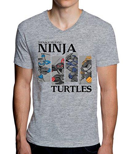 The Turtles Teenage Mutant Ninja Heroas 4 Stripes Graphic Design Men's V-Neck T-Shirt Large