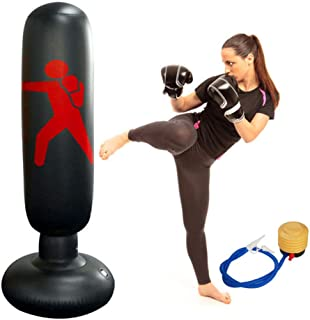 Wolfsport Fitness Punching Bag Heavy Punching Bag Inflatable Punching Tower Bag Freestanding Children Fitness Play Adults De-Stress Boxing Target Bag 5.25ft