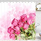 Spring Flower Shower Curtain, Spring Romantic Pink Rose Floral Green Leaves Shower Curtain Sets, Floral Fabric Shower Curtain Hooks Include, 70 in