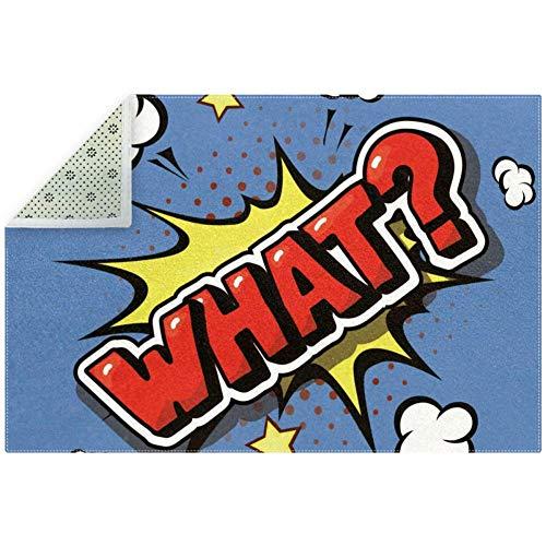 Bennigiry Soft What Comic Explosion Pop Art - Alfombra antideslizante grande para sala de estar, dormitorio, sala de juegos, 71 x 47 pulgadas, poliéster, multicolor, 180x120cm/71x47in
