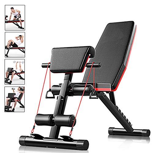 Banco de pesas ajustable AJUMKER, 4 en 1, para entrenamiento en casa, gimnasio, levantamiento de pesas, banco para entrenamiento de piernas, 7 ajustes de ángulo de inclinación