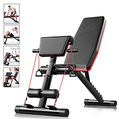 AJUMKER Adjustable Weight Bench,Flat Incline Decline Multi Use,Sit Up Bench Home Training Gym Weight Lifting Bench Workout Training Leg Exercise, Black