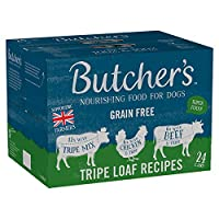 Butcher's Tripe Loaf Recipes Dog Food Tins 24 x 400g 100% Complete, nutritious food for adult dogs To ensure your dog is as bright-eyed and bushy-tailed as it can be, we make our recipes with best quality natural ingredients that provide the healthie...