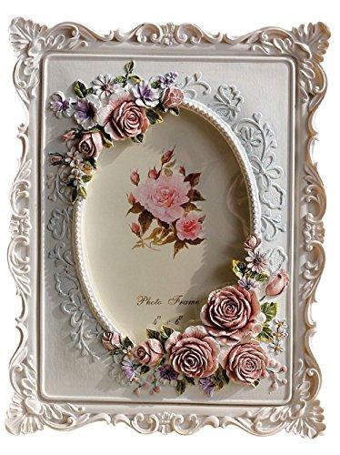 Giftgarden Bilderrahmen 10x15 mit Rosen idyllisch oval Fotodisplay Fotorahmen Deko weiß Rahmen Hochzeit Familie Geschenke für Freunde