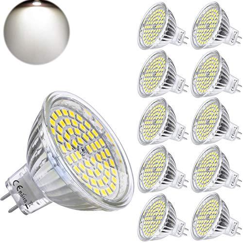 Yafido 10er GU5.3 LED Neutralweiß MR16 12V 5W Ersatz für 35W Halogen Lampen GU5.3 4000K 400 Lumen Birne Leuchtmittel 120°Abstrahwinkel Spot Nicht Dimmbar Ø50 x 48 mm