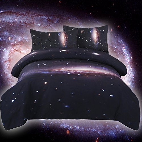 Sleepwish Galaxy Single Bed Covers for Kids Space Bedspread for Single Bed Universe Bedding 3 Piece Night Sky Bedding Set