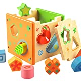 Itian Jeu Cubes en Bois - Forme Bois Forme Sorter Preschool Jouet éducatif Couleur Reconnaissance Intelligence Jouets Bricks