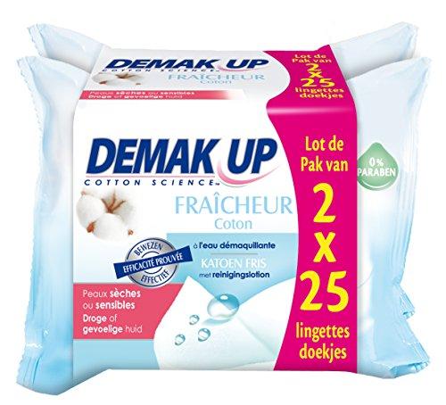 Demak'Up 2 Etuis de 25 Lingettes Démaquillantes Eau Fraîcheur Peau Sèche et Sensible - Lot de 4