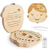 ZIIDOO Zahnbox Holz Milchzähne Box,Zahndose für Milchzähne aus Holz, Milchzahndose für Mädchen und Jungen[Deutsch Version](Mädchen)