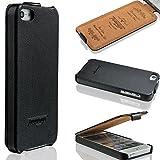 Twoways® Hülle Leder für iPhone SE / 5s / 5   Handyhülle Case Etui Flip Case Klapphülle Schutzhülle   Farbe Schwarz