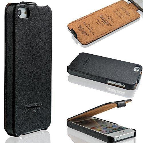Twoways® Hülle Leder für iPhone SE / 5s / 5 | Handyhülle Case Etui Flip Case Klapphülle Schutzhülle | Farbe Schwarz