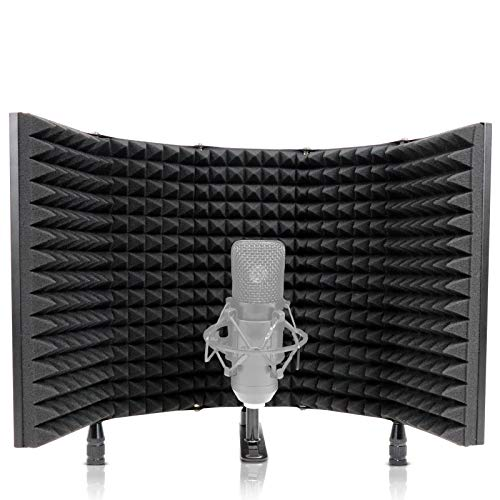 DIOKAYI Protector de aislamiento de micrófono profesional, filtro de 5 paneles, ecompatible con muchos equipos de grabación de micrófono condensador