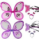 com-four® Alas de mariposa, rosa y púrpura, cada una con diadema y varita, juego de disfraces, traje para niños (morado/rosa)