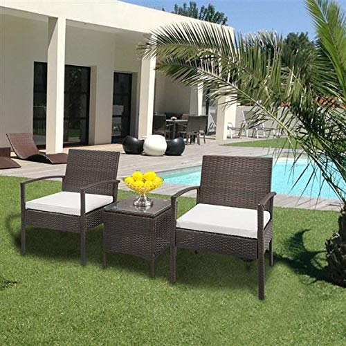 U-Kiss Rattan Garden Furniture Set 3 piece Patio Rattan furniture sofa Chair Weaving Wicker includes 2 Armchairs and 1 table (Brown 3pcs)