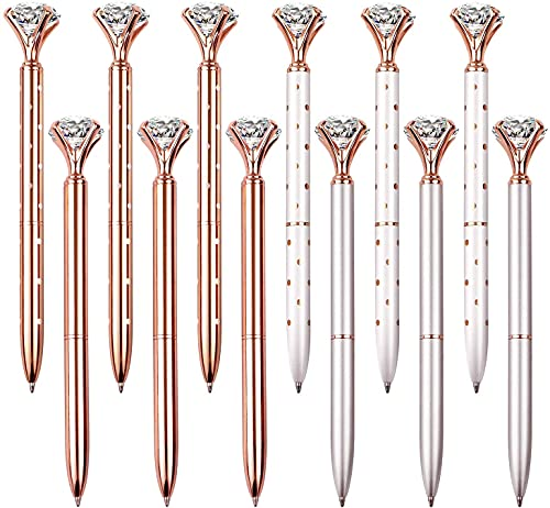 Weimay 12 PCS Diamond Pen With Big Crystal Bling Metal Ballpoint Pen, Office Supplies And, Rose Gold/White Rose Polka Dot/Silver/Rose Gold With White Polka Dots, Includes 12 Pen Refills